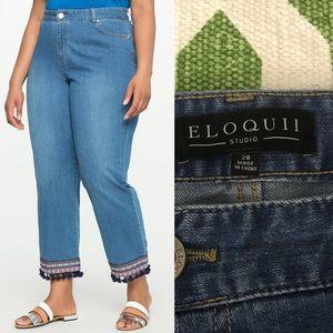 Eloquii Studio Embroidered Tassel Hem Jeans 28